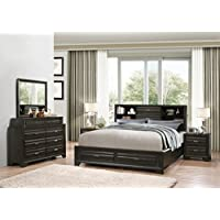 Roundhill Furniture Loiret 236 Antique Grey Bed Room Set/King Storage Bed/Dresser/Mirror/2 Night Stands