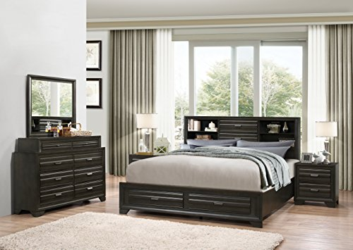 Roundhill Furniture Loiret 236 Antique Grey Bed Room Set/Queen Storage Bed/Dresser/Mirror/2 Night Stands