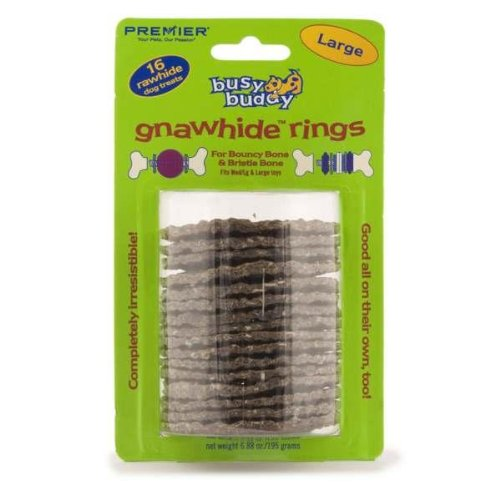 Premier Busy Buddy Gnawhide Refill Ring Dog Treats for Bristle and Bouncy Bones, Rawhide, Large, My Pet Supplies