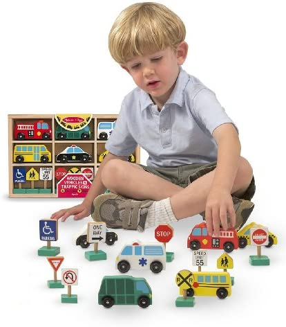 Melissa & Doug Wooden 6-Vehicle and 9-Traffic Signs Play Set & 1 Scratch Art Mini-Pad Bundle (03177)