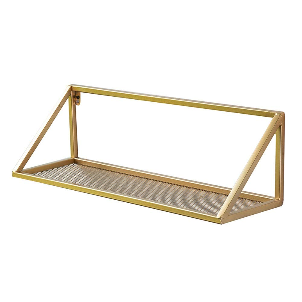 L-G-M ウォールシェルフ、モダンなミニマリストの本棚ホームリビングルームフラワースタンドワードパーティション錬鉄製キッチン収納装飾的なフレーム、ゴールド B07S67J1FJ
