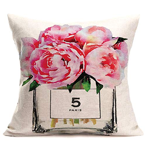 Fukeen Pink Rose Flower Throw Pillow Cushion Cover Modern French Paris Perfume Bottle with Watercolor Floral Bloom Decorative Pillow Cases Home Office Living Room Decor Cotton Linen Pillowslip 18