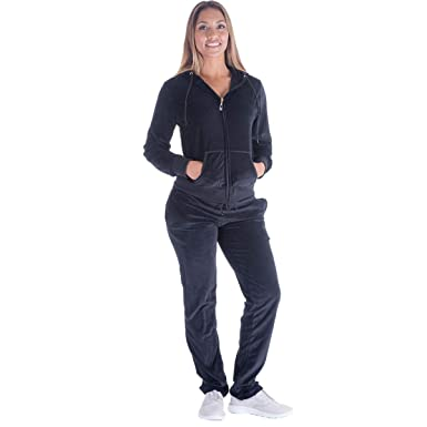 Women Sweatsuit Sets Velour Athletic Hooded Sweatshirt and Pants ... 1231364c5501