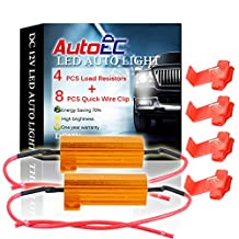 AutoEC 4pcs 50W 6Ohm LED Load Resistors for LED Turn Signal Lights or LED License Plate Lights or DRL (Fix Hyper Flash, Warning Cancellor) (pack of 4)