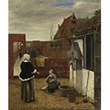 Canvas Prints Of Oil Painting ' Pieter De Hooch A Woman And Her Maid In A Courtyard ' , 10 x 12 inch / 25 x 30 cm , Polyster Canvas Is For Gifts And Bath Room, Home Theater And Study Room Decoration