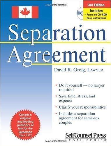 Separation Agreement By David R Greig Lawyer Jan 1 2007 Amazon