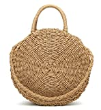 Obosoyo Straw Crossbody Bag Women Weave Shoulder Bag Round Summer Beach Sea Tote Handbags Lightbrown-Large