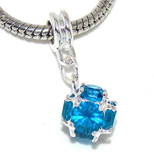 Blue Green Charm - Jewelry Monster Birthstone Charm Dangle Ball for Snake Chain Charm Bracelets 00608 (Blue Topaz)