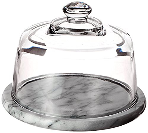 Norpro 348 Glass Cheese Dome with Marble Base , Off-White