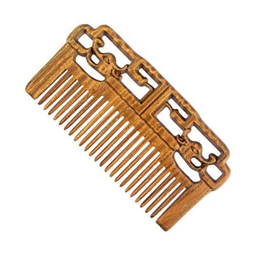 TGBN Wooden Comb, Dragon and Phoenix Three-Dimensional Wooden Comb, Carved Comb, Green Sandalwood Comb, Wedding Comb, sessile Flat Comb,-yellow2