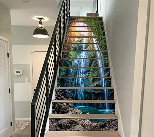 13PCS Waterfall in deep Forest Self-adhesive PVC Waterproof Stair Sticker Murals