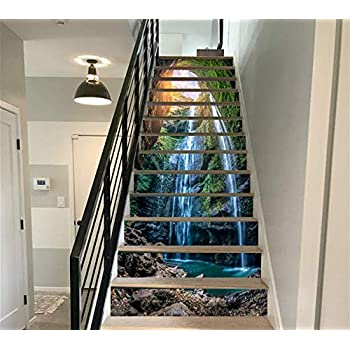 FLFK 13PCS Waterfall in deep Forest Self-Adhesive PVC Stair Sticker Murals 39.3Inch x7.08Inch x13pcs