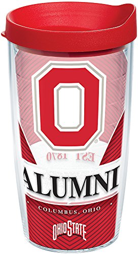 - Tervis 1215798 Ohio State Buckeyes Alumni Tumbler with Wrap and Red Lid, 16 oz - Tritan, Clear