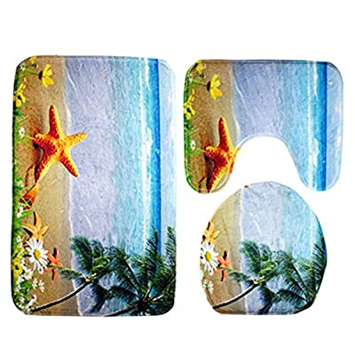 WinnerEco Non-slip Mats,3pcs Ocean Underwater World Anti Slip Toilet Pattern Carpet Bathroom Mat Carpet Rug Carpet Mat (Beach)