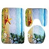 Toilet Floor Rug ,Awakingdemi 3pcs Ocean Underwater World Anti Slip Toilet Pattern Carpet Bathroom Mat (Beach starfish)