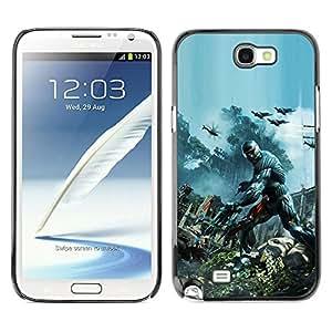Samsung Note 2 N7100 - Metal de aluminio y de plástico duro Caja del teléfono - Negro - Crisis Future Soldier War