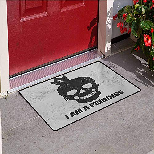 Jinguizi I am a Princess Commercial Grade Entrance mat Skull with a Crown Skeleton Halloween Theme Grunge Look for entrances garages patios W31.5 x L47.2 Inch Charcoal Grey and Pale Grey ()