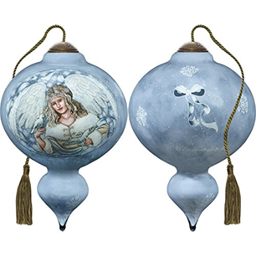 (Ne'Qwa Art Hand Painted Blown Glass Winter Angel Ornament,)