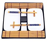 EXZACT EX-SR08 Bamboo Sushi Rolling Kit 8pcs Set - 2 x Bamboo mats, 1 x rice paddle, 1 x rice spreader, 4 pairs of chopsticks - All Natural (Sushi Gift Set)