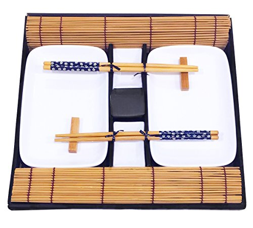Exzact 10 pcs Sushi Set - 2 x Sushi Plates, 2 x Dip Bowls, 2 x Bamboo Sushi Rolling Mats, 2 x Bamboo Chopsticks Rests, 2 Pairs of Chopsticks - Porcelain - Beautifully Presented in Gift Box