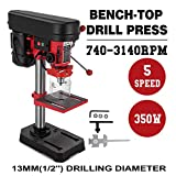 DreamJoy 8 Inch 5-Speed Benchtop Drill Press 350W 220V Industrial Electric Mini Stand Press Mount Bench Drill Machine 13mm 1/2'' Max. Drilling Diameter Floor Standing Drill Press