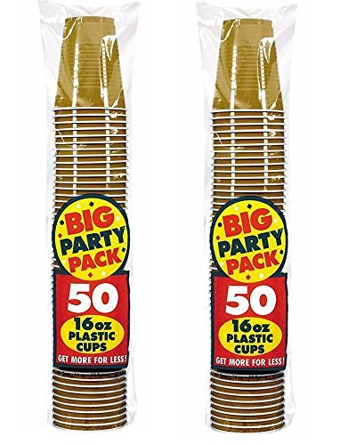 Amscan Big Party Pack 100 Count Plastic Cups, 16-Ounce ecDXdP, Gold