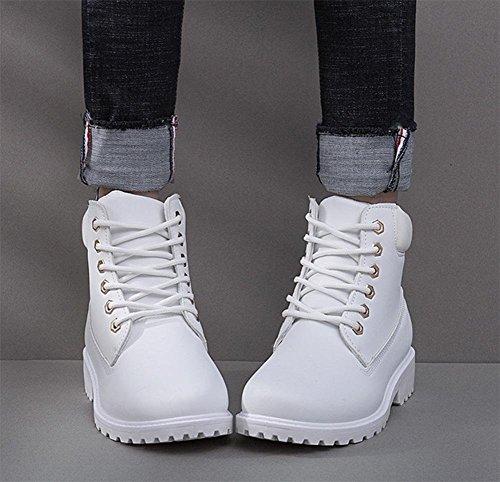 Minetom Martin Bottines À Lacets Femme Hiver Chaudes Bottines de Neige Randonnée en Plein Air Plateforme Chaussures Plates Blanc oykTa4EZ