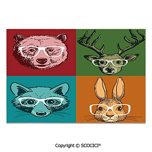 (SCOCICI Place Mats Set of 6 Personalized Printed Non-Slip Table Mats Hipster Retro Style Funny Wild Animals Faces with Glasses Line Art Drawing Decorative for Dining Room Kitchen Table Decor)