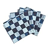Roostery Travel Game Portable Organic Sateen Dinner Napkins Blue Checker Chess Board by Wren Leyland Set of 4 Cotton Dinner Napkins Made