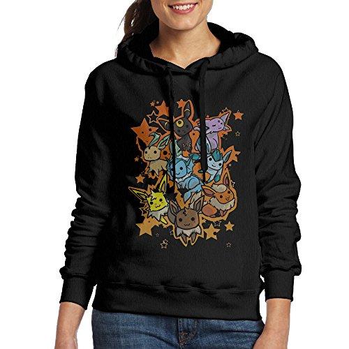 [Bekey Women's Eevee Evolution Hoodie Jacket L Black] (Tom Arma Flower Costume)