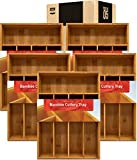 Utopia Kitchen Bamboo Silverware Organizer- 5 Compartments - Bamboo Drawer Organizer Tray - Bamboo Hardware Organizer (5-Packs)