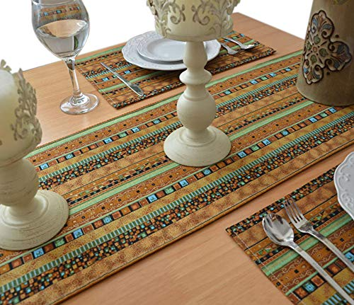 - Yoovi Reversible Brown Table Runner with Matching Place mats Set of 4 Striped Cotton Linen Ethnic Tribal Boho Country Home Decor (11.8'' X 78'')