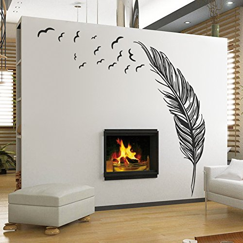 trfhjh Quotes Wall Sticker Home Art Black White Feather Art Vinyl Quote Wall Stickers Home Wall Decals Wall Decor For Bedroom Living Room Kids Room
