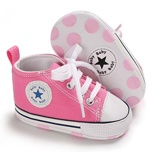 Unisex Baby Boys Girls Canvas Sneakers Soft Soled High-Top Ankle Infant Crib Shoes Toddler First Walkers(12-18 Months,Pink) -