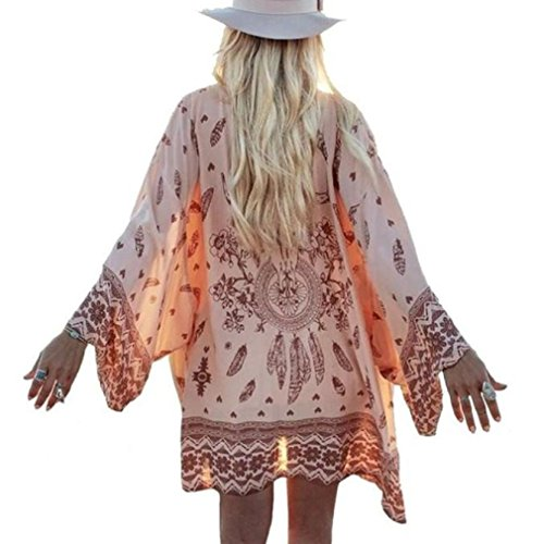 - Pengy Women Boho Printed Chiffon Loose Shawl Kimono Cardigan Tops Cover up Blouse Beachwear (Pink, L/US Size:8)