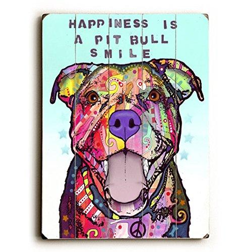 Wood Planked Sign Vintage - Pit Bull Smile by Artist Dean Russo 12