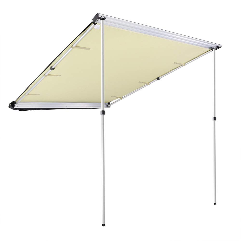 Telescoping Poles Twist-Lock Aluminum Alloy Structure Shade Outdoor Camping US Delivery 250x250cm, Grey ZeHuoGe 250x250CM Grey Car Side Awning Rooftop Pull Out Tent Shelter PU2000mm UV50