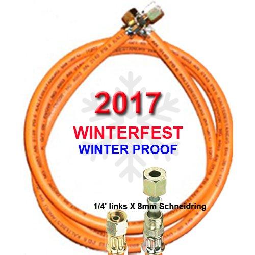 'Tubo per Gas Propano Winter Fest con 1/4X 8mm schneidri gverchraubung–Resistente alle basse temperature fino a -30°c–con stampa 2017 TGO