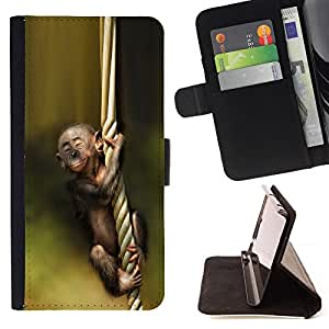 BullDog Case - FOR/Samsung Galaxy Note 3 III / - / monkey green nature cute baby forest /- Monedero de cuero de la PU Llevar cubierta de la caja con el ID Credit Card Slots Flip funda de cuer