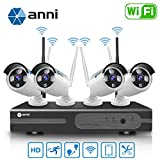 Anni 720P 4CH HD WiFi NVR Kit Wireless Security Camera CCTV Surveillance Systems,(4) 1.0MP Megapixel Weatherproof Wireless Bullet IP Cameras,65ft Night Vision,P2P,No Video Cable Needed,NO HDD