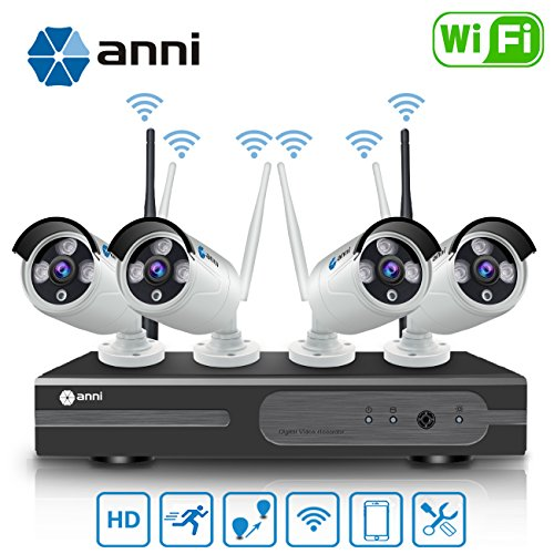 (Anni 720P 4CH HD WiFi NVR Kit Wireless Security Camera CCTV Surveillance Systems,(4) 1.0MP Megapixel Weatherproof Wireless Bullet IP Cameras,65ft Night Vision,P2P,No Video Cable Needed,NO HDD)