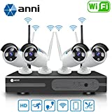 Anni 720P 4CH HD Wifi NVR Kit Wireless Security Camera CCTV Surveillance Systems,(4)1.0MP Megapixel Weatherproof Wireless Bullet IP Cameras,65ft Night Vision,P2P,No Video Cable Needed,NO HDD