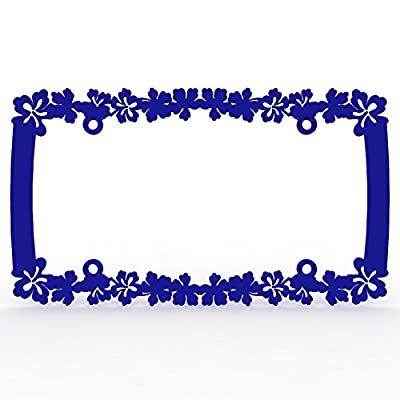 Ferreus Industries Blue Powdercoat Car Truck License Plate Frame Hawaiian Flower Hawaiian Flower - 1 Piece LIC-108-Blue: Automotive