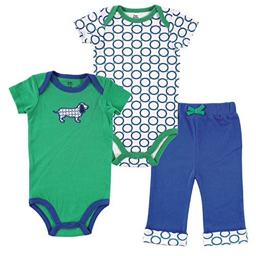 Wizard 2 Embroidery - Yoga Sprout Clothing Set, 2 Bodysuits and Pant, Boy Dog, 12-18 Months