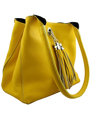 And Leather Shoulder amp; Reversible Handmade Suede Soft Giglio Bag Yellow Black Italian xTwEqtZEH
