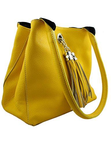 Para Al Giglio Cuero Hombro Y Mujer Bolso Amarillo De Negro 5gqqwxXT