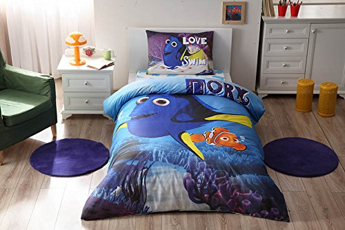 100% Cotton Disney Finding Dory Bedding Duvet Cover Set New Licensed / Finding Dory Movie Twin Size Duvet Cover Set / Finding Dory Bedding Set 3 PCS by store_turco