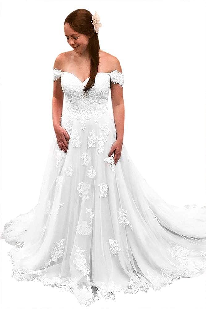 TBGirl Off The Shoulder Lace Appliques Long Bridal Dress Wedding Dress Plus Size