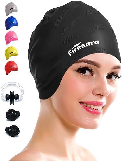 Men Women Pool Swimming Cap Adult Bathing Caps Swim Hat Fabric Protect Ears
