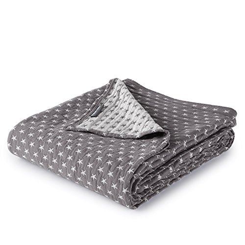 Dawson Star Three Layers Lightweight 100% Soft Washed Cotton Gauzy Blanket (Twin, Gray) ()